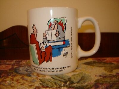 1983 Jim Unger Herman Mug Work Humor Salary Review Paying You too Much