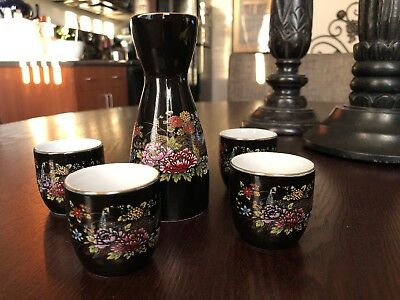 Vintage Beautiful Floral Peacock & Gold Etching 5 Piece Saki Set