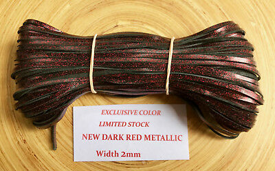 "NEW Kangaroo Leather Lace Metallic DARK RED Lacing (2.0mm 5/16"") 10 meters"