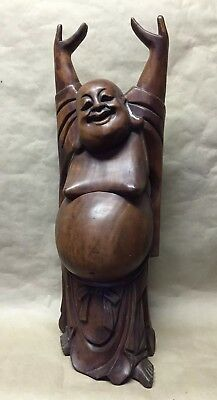 Antique Mahogany Wood Hand Carved Lucky Hands Up Big Buddha Statue Figurine