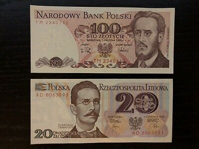 Poland P-143 1988 Unc 100 Zlotych And 20 Zlotych 1982 P-149 Unc Old Banknotes