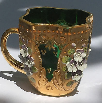 Beautiful Antique Moser Bohemian Emerald Green Cup Gold Gilded Enameled Flower 1