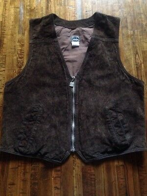 Vintage 90's LEVIS SILVERTAB LEATHER Vest Brown Classic Western Made in Canada
