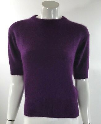 VTG 90s Semplice Sweaters Womens Top Sz Small Purple Angora Blend Fuzzy Pullover