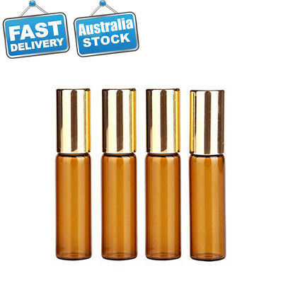20x Amber Glass Roller Bottles Gold Cap Roll on Ball For Essential Oil Perfume