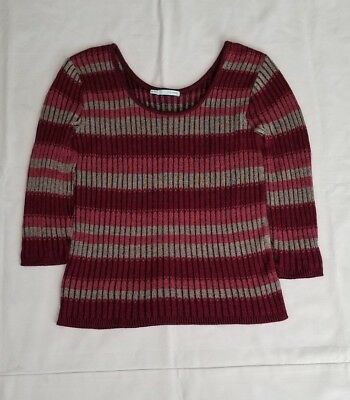 Maurices Womens Size Medium Burgundy Striped Blouse Long Sleeve Pull Over Top