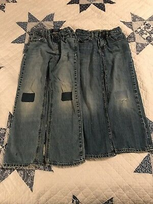 Fall Winter Boys Lot- Old Navy Size 8 Bootcut Blue Jeans With Patches