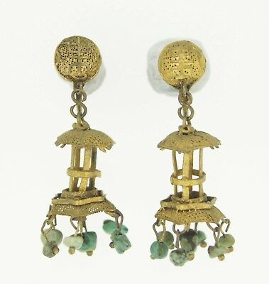 Qing Era Chinese Antique Lantern Natural Turquoise Earrings Silver Fine Jewelry