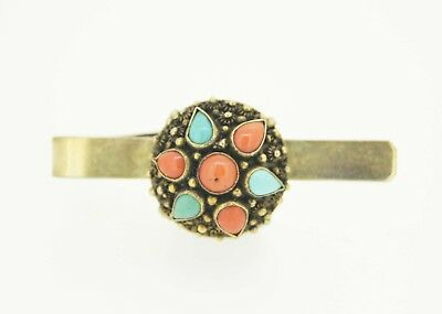 Old Chinese Antique Vintage 18K Gold Natural Green Jade Tie clip Pin Jewelry