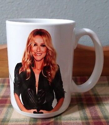 CELINE DION - Photo Collectible GIFT Mug NEW ITEM Cup Glass RARE Vibrant UNUSED