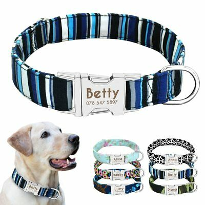 New Dog Collar Nylon Personalized Custom Dog ID Tag Collar Engraved Nameplate
