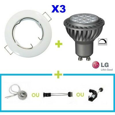 3 Spot Encastrable Fixe Blanc Led Gu10 6.5W Lg Blanc Chaud Dimmable Variateur