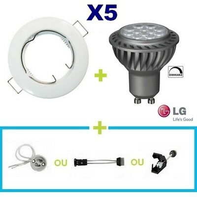 5 Spot Encastrable Fixe Blanc Led Gu10 6.5W Lg Blanc Chaud Dimmable Variateur