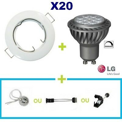 20 Spot Encastrable Fixe Blanc Led Gu10 6.5W Lg Blanc Chaud Dimmable Variateur