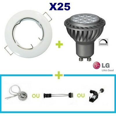 25 Spot Encastrable Fixe Blanc Led Gu10 6.5W Lg Blanc Chaud Dimmable Variateur