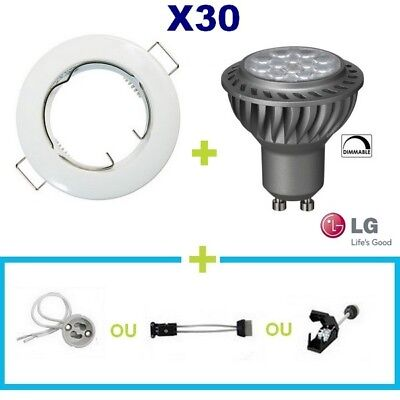 30 Spot Encastrable Fixe Blanc Led Gu10 6.5W Lg Blanc Chaud Dimmable Variateur