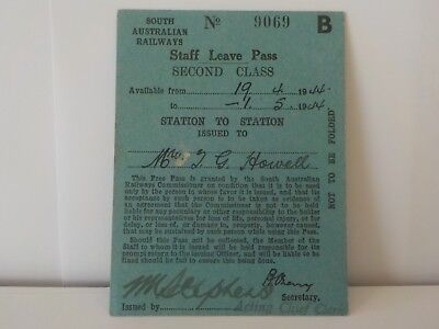 South Australian Railways Staff Leave Pass Ticket Second Class 1944 Very Rare