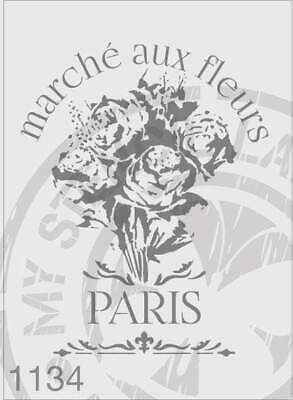Stencil 1134 French Inspired Paris Flower Stencils for Craft and Furniture Paint