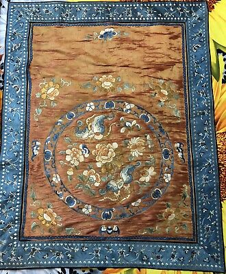"""Antique Chinese Hand Embroidery Scenery,Banner,Wall Hanging On Silk 25"""" By 31"""""""