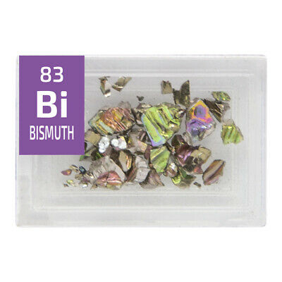 Bismuth 99.99% pure Crystal or 99.999% Grain Bi Sample in Periodic Element Tile.