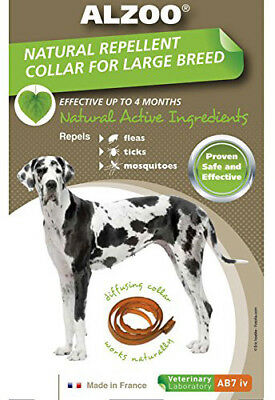 ALZOO - Natural Repellent Flea & Tick Collar for Dogs - Large