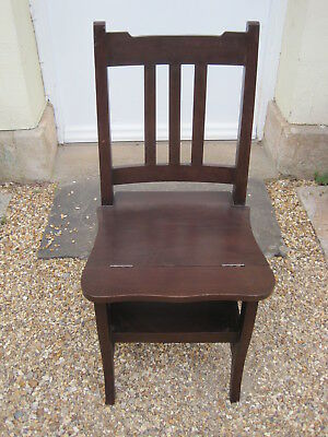 Vintage Dark Hard Wood Metamorphic Library Chair Steps with Rail Back *