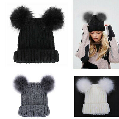 Women Ladies Winter Knitted Beanie Hat with Fluffy Double Fur Bobble Pom Ski Cap