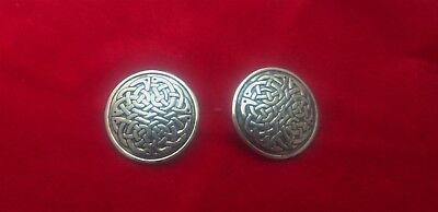 """Sterling Silver Celtic Knot Round Disc Stud Earrings Mexico 14 grams 1"""" dia"""