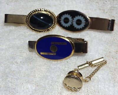 Lot of Three Tie Clasps plus Tie Tack Interesting Gears on Two Gold Tone