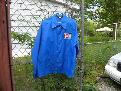 Vintage 1980's Pepsi Cola Swingster Blue Windbreaker with snap buttons Size L