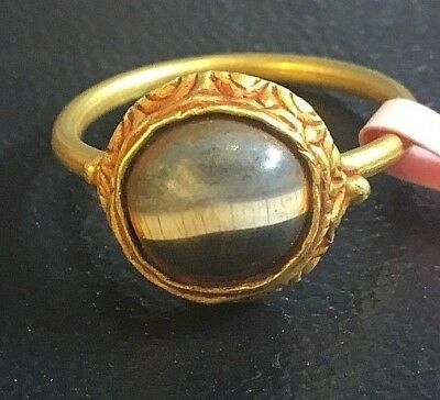 Extremely RARE! Ancient Triple Tone Roman Agate Protection Solid 22K Gold Ring