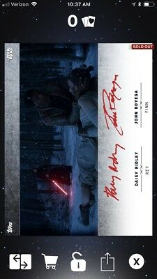 Topps Star Wars Card Trader Rey And Finn Red Dual Signature Cc 31