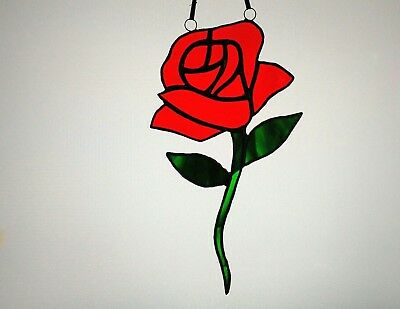 Stained Glass Suncatcher Red Rose Mothers Day Valentine's Day Gift Tiffany Style