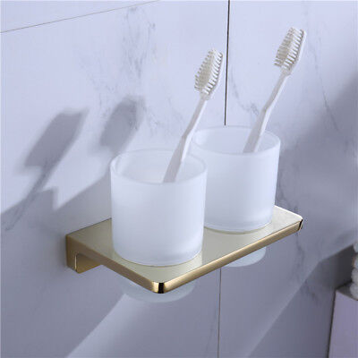 Luxury Light Gold Plated Double Toothbrush Holder Tumbler Cup Set For Bathroom