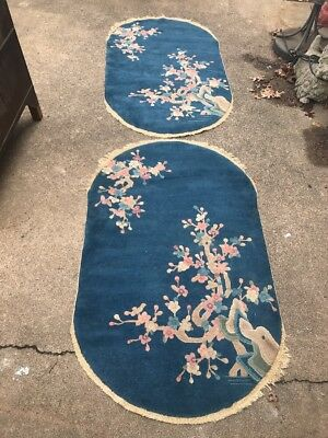 Pair Of Unusual Antique Blue Oval Chinese Rugs