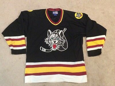 CHICAGO WOLVES HOCKEY Jersey Black Adult M STARTER -  24.99  09fe764336e