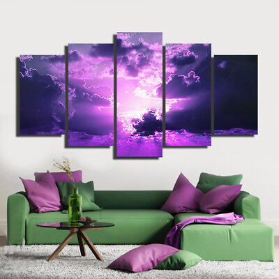 Purple Clouds Wall Art Decor Canvas Paintings in 1-3-4-5 Pieces. A decor design!