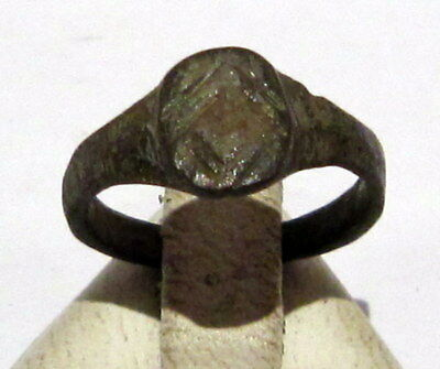Beautiful Post-Medieval Bronze Kids Ring With Engraving On The Top # 77