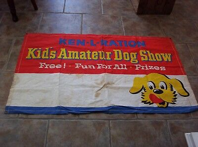 "Rare Vintage Ken L Ration Dog Show Banner Sign 34"" x 57"" Litho USA Old Pet Food"