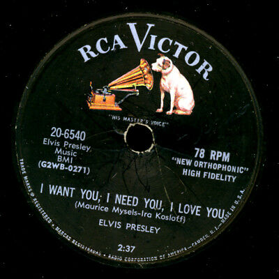 ELVIS PRESLEY Iwant you, I need you, I love you/ My Baby... Schellackplatte S742