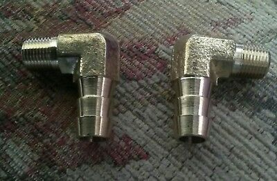 "Harley Brass Oil Tank Fittings 3/8"" Hose (Packs of Two).NEW."