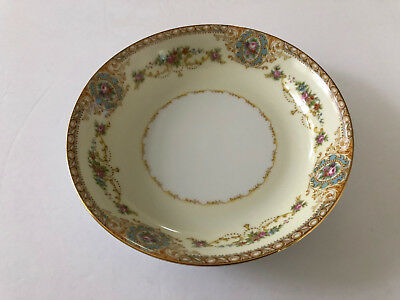 """Noritake China Coypel 3732 Flowers, Gold Trim - 7-3/8"""" COUPE SOUP BOWL"""