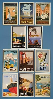 Postcards, Set of 11 NEW Stunning Vintage Italian Repro Travel Posters 7J