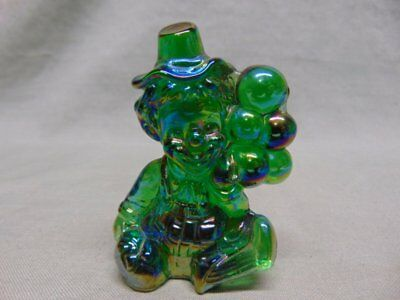 "Vintage Mosser Green Carnival Glass ""KOKO"" Clown Figurine"