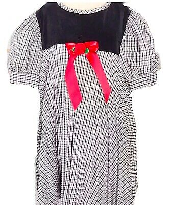 Vintage Christmas Dress 4T Black White Check Red Bow Pleated Twirl  Made USA
