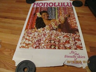 """Vintage United Airlines """"honolulu"""" Travel Poster Airport Lei Stands 25"""" X 40"""""""
