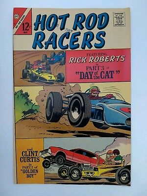 "Hot Rod Racers #14 (VG+) ""Clint Curtis meets the Golden Boy"" Charlton 1967"