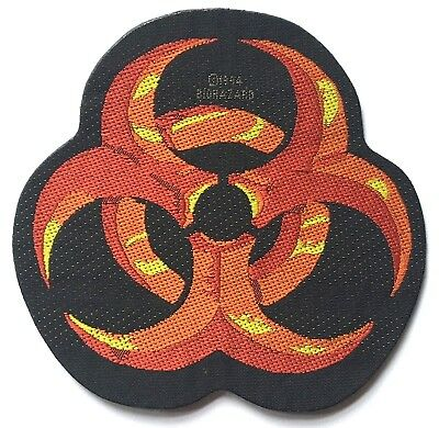 BIOHAZARD Old OG Vtg 1990`s Die Cut Shaped Woven Patch Sew On Rare Aufnäher