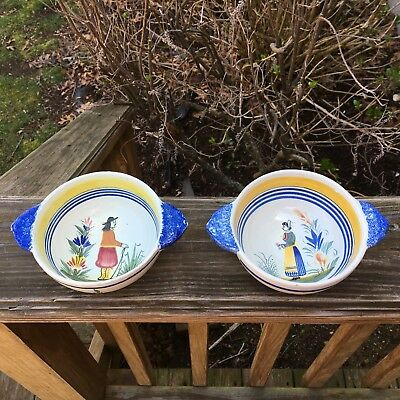 2 Vintage Henriot Quimper France Lug Soup Bowl Hand Painted 2 Handled Porringer