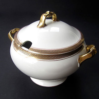 Antique RIDGEWAY Porcelain Lidded Soup Tureen KEY 1Pt White Gold Handles Finial